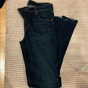 J brand size 26, dark indigo wash step hem jeans
